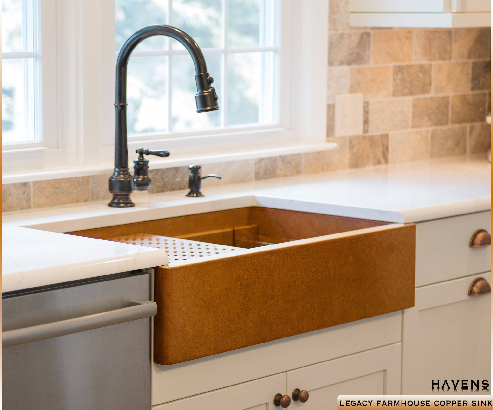 Copper Farmhouse Workstation Sink With A Built In Ledge And 14 Gauge Smooth  Copper Finish.