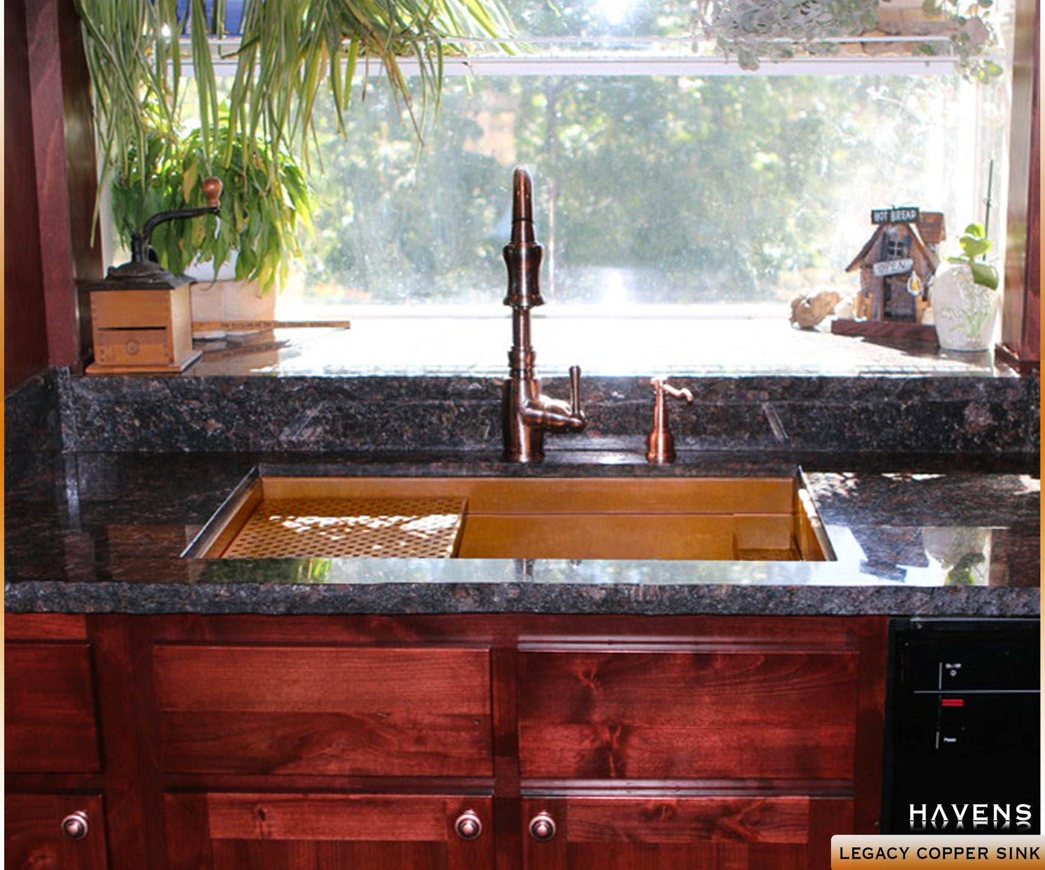 Undermount Legacy copper kitchen sink, USA handcrafted by Havens.