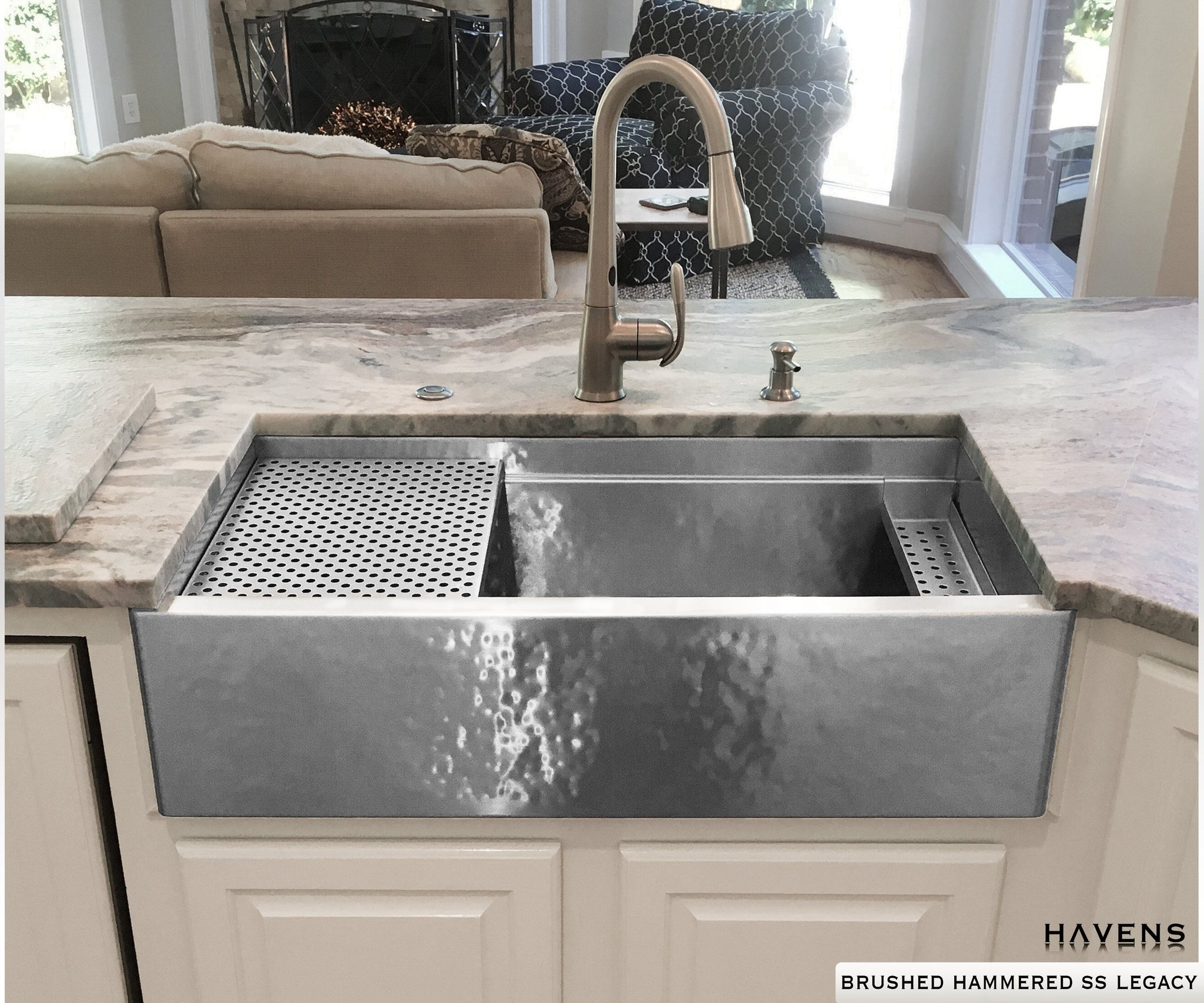 Legacy - Legacy Farmhouse Sink - Brushed Hammered Stainless