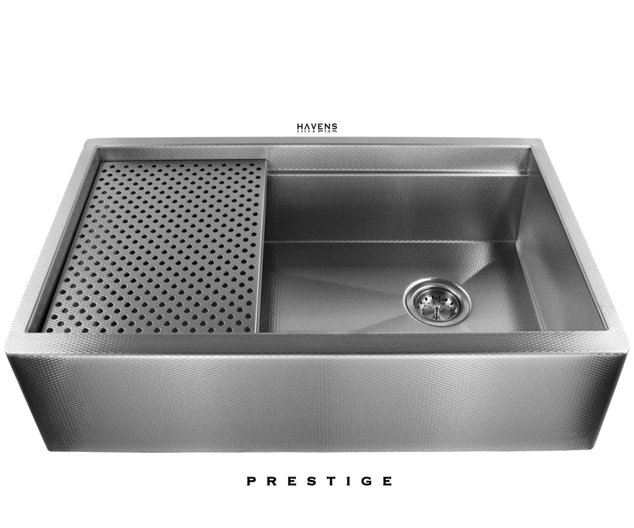 16 gauge farmhouse stainless steel workstation sink. Textured Prestige stainless steel American made