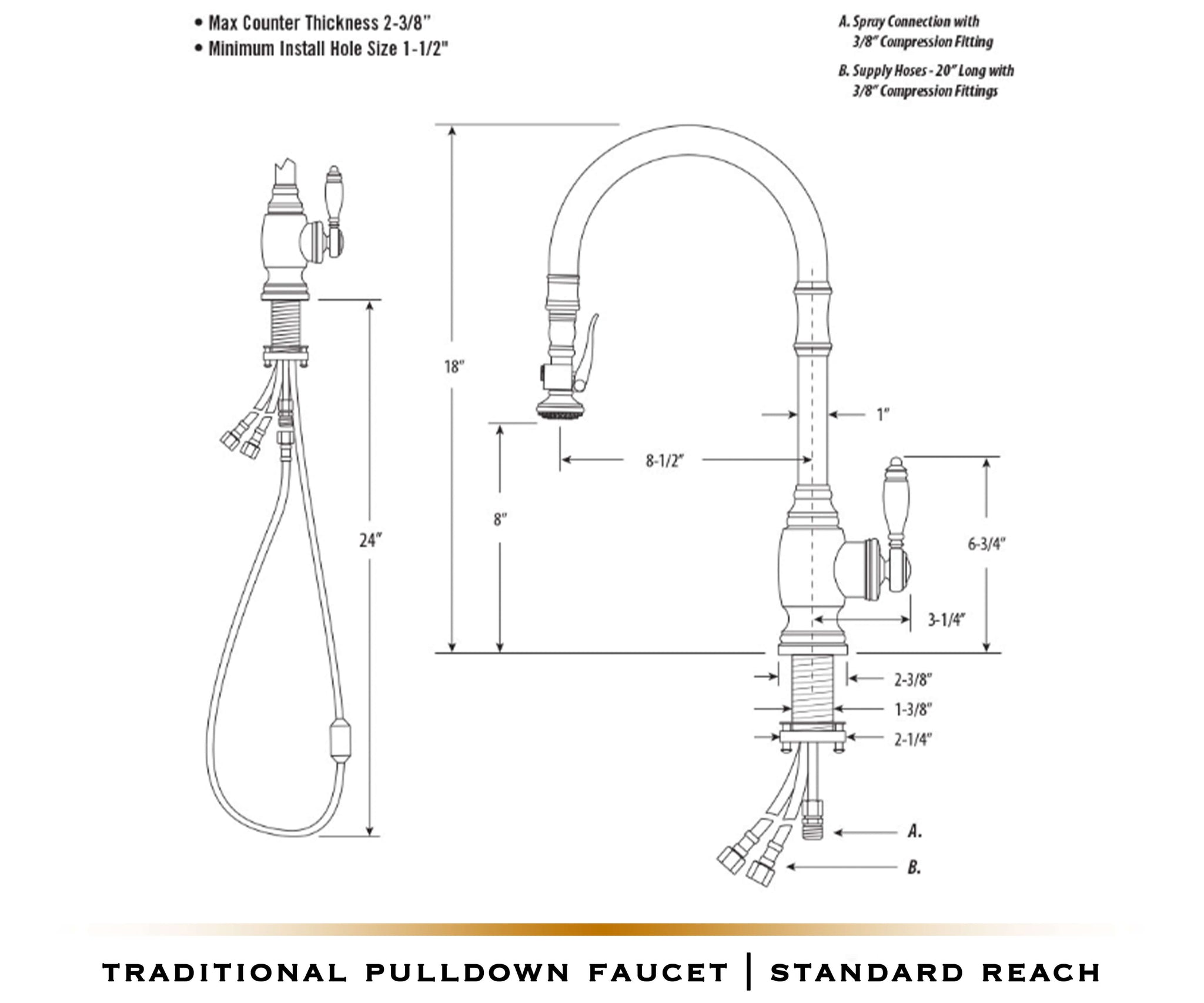 PLP Pulldown Waterstone Faucet | Traditional