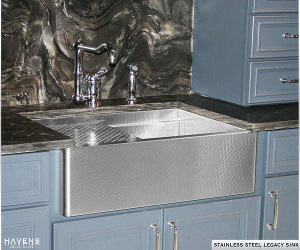 Farm sink in kitchen by Havens. Stainless farmhouse Legacy sink.