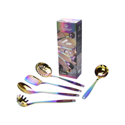 Stainless Steel Kitchen Tools (5-Piece Set) | Rainbow PVD Coated