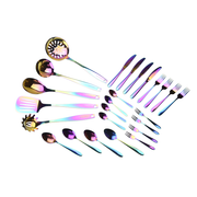 Stainless Steel Kitchen Tools and Cutlery Bundle (25-Piece Set) | Rainbow PVD Coated