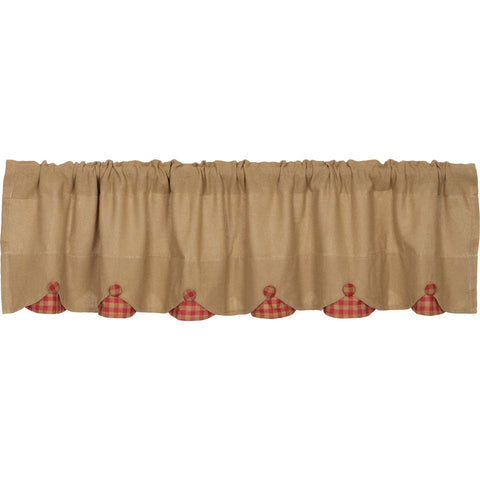The Burlap Natural with Red Check Curtain Collection