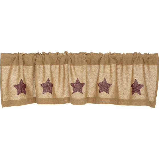 The Burlap Natural with Burgundy Stars Curtain Collection