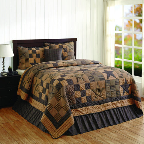 Star Patch Blue King 5 Piece Quilt Set