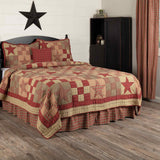 Star Patch Red Luxury King 5 Piece Quilt Set
