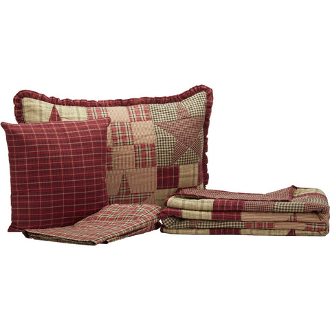 Star Patch Red Twin 4 Piece Quilt Set