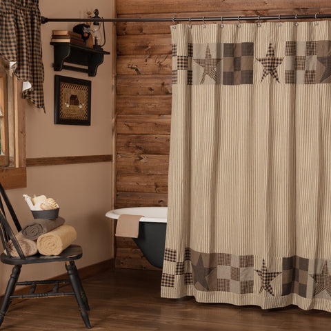 Star Patch Black Shower Curtain
