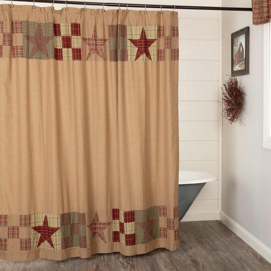 Star Patch Red Shower Curtain