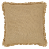 Burlap Natural Fabric Euro Sham with Fringed Ruffle