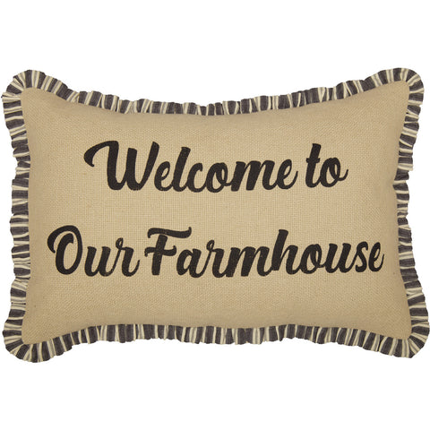 Burlap Vintage Welcome to our Farmhouse Pillow 14 x 22""