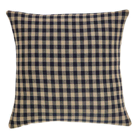 Black Check Fabric Pillow 16x16""