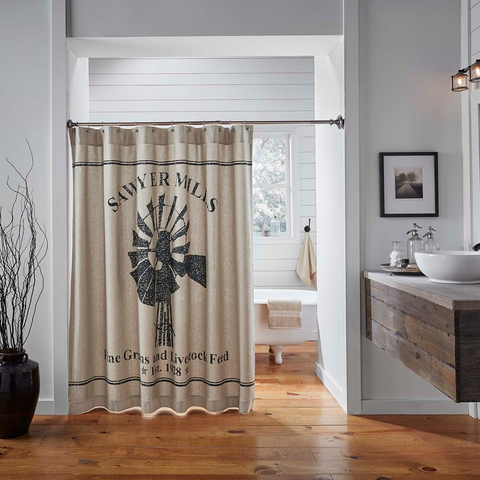 Sawyer Mill Charcoal Shower Curtain 72x72