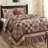 Star Patch Red King 5 Piece Quilt Set