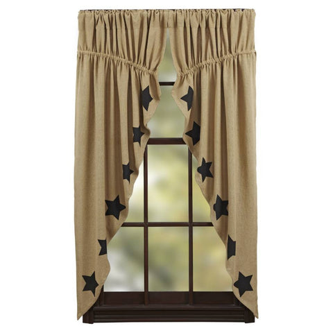 Burlap Natural Prairie Curtain Black Stencil Stars