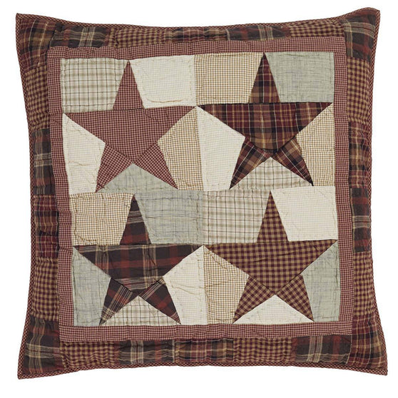 VHC-Brands-Mayflower-Market-Classic-Country-Bedding-Abilene-Star-Euro-Sham-Quilted-Burgundy-Tan-Dark-Brown