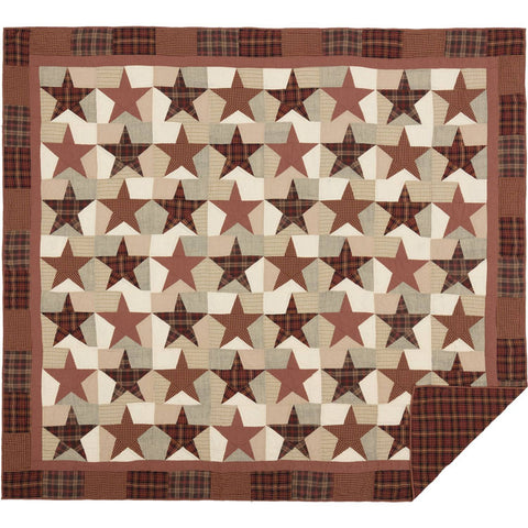 VHC-Brands-Mayflower-Market-Classic-Country-Bedding-Abilene-Star-Quilt-King-Burgundy-Tan-Dark-Brown