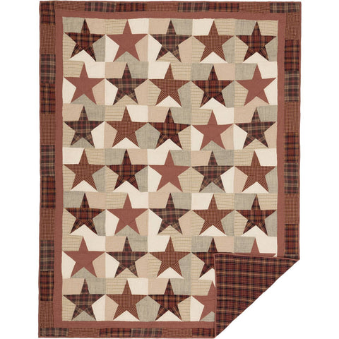 VHC-Brands-Mayflower-Market-Classic-Country-Bedding-Abilene-Star-Quilt-Twin-Burgundy-Tan-Dark-Brown