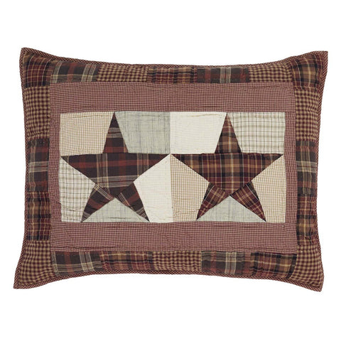 VHC-Brands-Mayflower-Market-Classic-Country-Bedding-Abilene-Star-Sham-Standard-Quilted-Burgundy-Tan-Dark-Brown