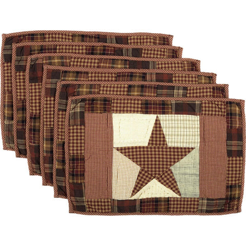 VHC-Brands-Mayflower-Market-Classic-Country-Tabletop-Kitchen-Abilene-Star-Placemat-12x18-Set-6-Burgundy-Tan-Dark-Brown