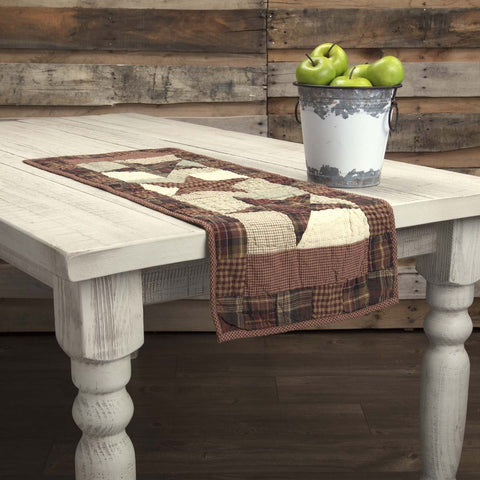 VHC-Brands-Mayflower-Market-Classic-Country-Tabletop-Kitchen-Abilene-Star-Runner-13x36-Burgundy-Tan-Dark-Brown