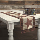 VHC-Brands-Mayflower-Market-Classic-Country-Tabletop-Kitchen-Abilene-Star-Runner-13x48-Burgundy-Tan-Dark-Brown