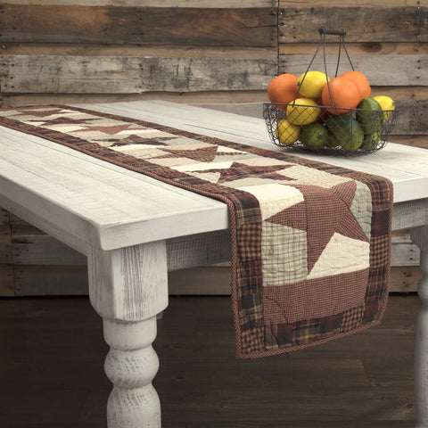 VHC-Brands-Mayflower-Market-Classic-Country-Tabletop-Kitchen-Abilene-Star-Runner-13x72-Burgundy-Tan-Dark-Brown