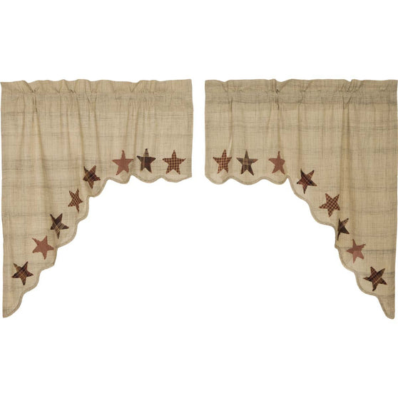 VHC-Brands-Mayflower-Market-Classic-Country-Window-Abilene-Star-Swag-Tan-Burgundy-Dark-Brown