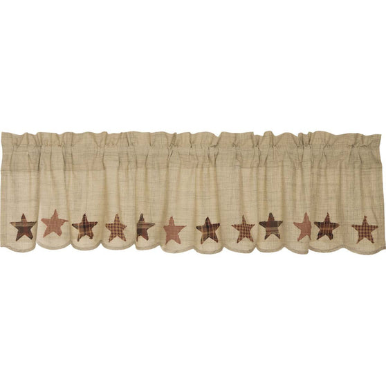 VHC-Brands-Mayflower-Market-Classic-Country-Window-Abilene-Star-Valance-16x72-Tan-Burgundy-Dark-Brown