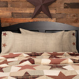 VHC-Brands-Mayflower-Market-Country-Bedding-Abilene-Star-Pillow-Case-King-Tan-Burgundy-Dark-Brown