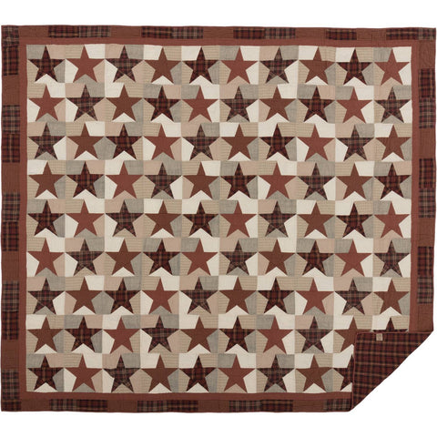 VHC-Brands-Mayflower-Market-Country-Bedding-Abilene-Star-Quilt-California-King-Burgundy-Tan-Dark-Brown