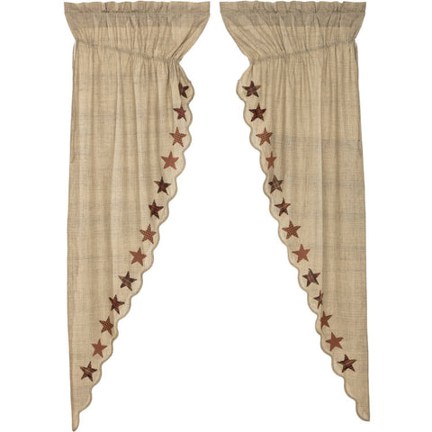 VHC-Brands-Mayflower-Market-Country-Window-Abilene-Star-Prairie-Long-Panel-Set-Tan-Burgundy-Dark-Brown