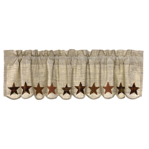 VHC-Brands-Mayflower-Market-Country-Window-Abilene-Star-Valance-16x60-Tan-Burgundy-Dark-Brown