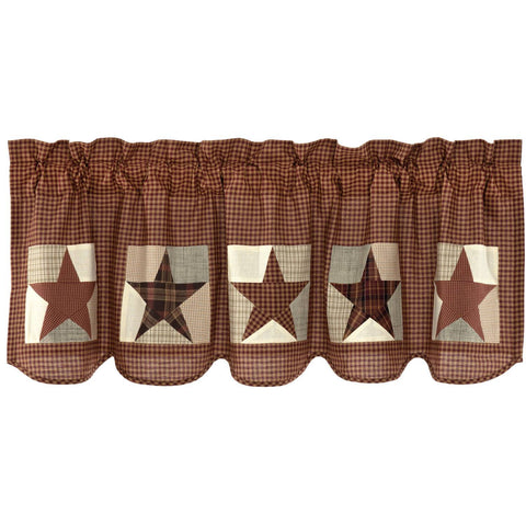 VHC-Brands-Mayflower-Market-Country-Window-Abilene-Star-Valance-20x60-Burgundy-Tan-Dark-Brown