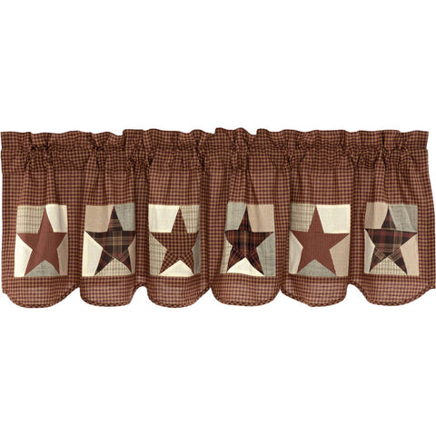 VHC-Brands-Mayflower-Market-Country-Window-Abilene-Star-Valance-20x72-Burgundy-Tan-Dark-Brown