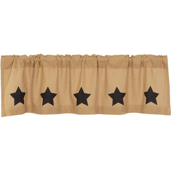 VHC-Brands-Mayflower-Market-Country-Window-Burlap-Natural-Black-Stars-Valance-16x60-Natural-Country-Black