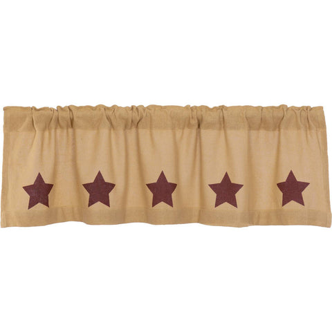 VHC-Brands-Mayflower-Market-Country-Window-Burlap-Natural-Burgundy-Stars-Valance-16x60-Natural-Burgundy
