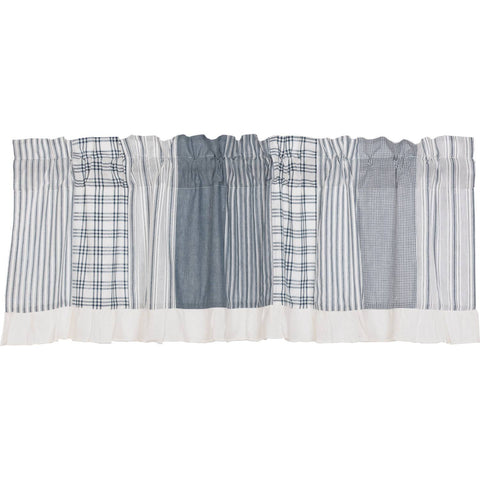 VHC-Brands-April-Olive-Farmhouse-Window-Sawyer-Mill-Blue-Valance-19x60-Denim-Blue-Soft-White