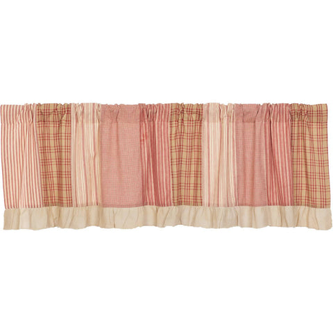 VHC-Brands-April-Olive-Farmhouse-Window-Sawyer-Mill-Red-Valance-19x72-Country-Red-Dark-Tan-Dark-Creme