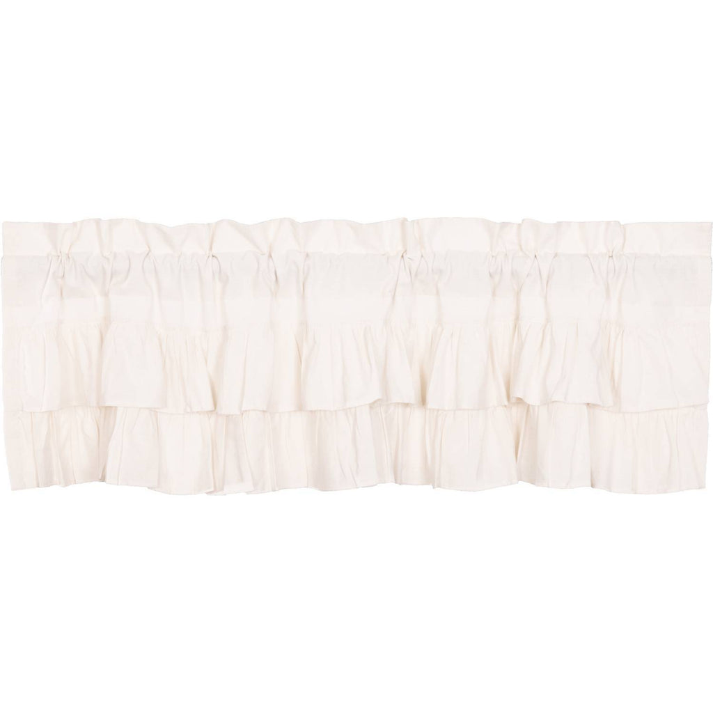 Simple Life Flax Antique White Ruffled Valance 16x60 The Bitloom Co