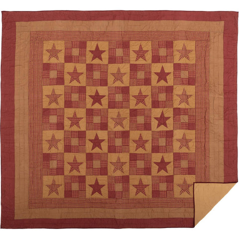VHC-Brands-Mayflower-Market-Primitive-Bedding-Ninepatch-Star-Quilt-California-King-Burgundy-Dark-Tan