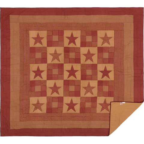 VHC-Brands-Mayflower-Market-Primitive-Bedding-Ninepatch-Star-Quilt-King-Burgundy-Dark-Tan