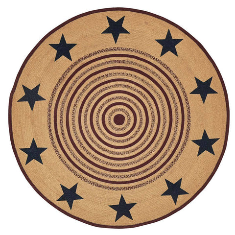 VHC-Brands-Mayflower-Market-Primitive-Rugs-Potomac-Jute-Rug-6-ft-Round-Natural-Burgundy-Navy