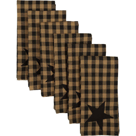 VHC-Brands-Mayflower-Market-Primitive-Tabletop-Kitchen-Black-Star-Napkin-Set-6-Black-Tan