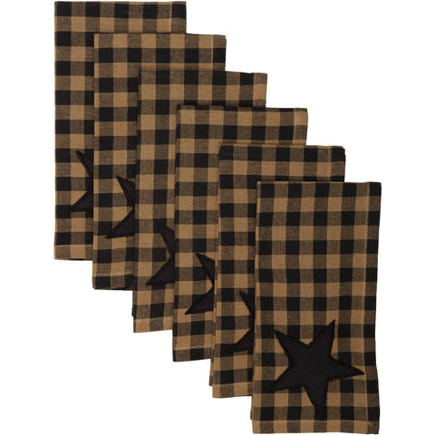 VHC-Brands-Mayflower-Market-Primitive-Tabletop-Kitchen-Black-Star-Napkin-Set-6-Raven-Khaki