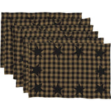 VHC-Brands-Mayflower-Market-Primitive-Tabletop-Kitchen-Black-Star-Placemat-12x18-Set-6-Raven-Khaki
