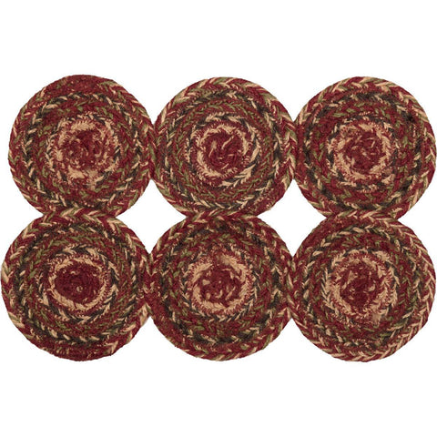 VHC-Brands-Mayflower-Market-Primitive-Tabletop-Kitchen-Cider-Mill-Jute-Jute-Coaster-Set-6-Burgundy-Natural-Olive-Green