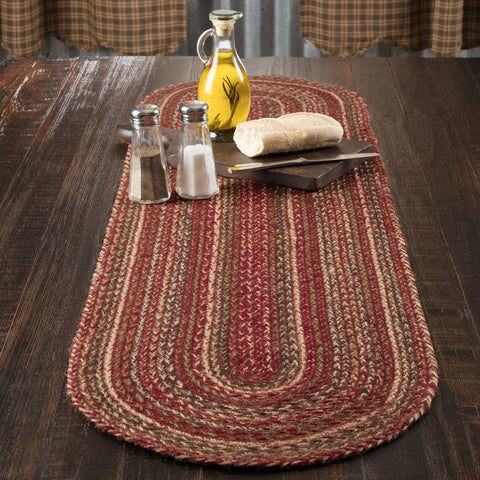 VHC-Brands-Mayflower-Market-Primitive-Tabletop-Kitchen-Cider-Mill-Jute-Jute-Runner-13x48-Burgundy-Natural-Olive-Green